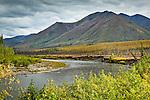 South Fork of Koyukuk River and Brooks Range, Dalton Hwy, Arctic Alaska, Autumn.