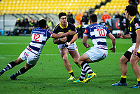 Jackson Garden-Bachop is tackled during the Mitre 10 Cup rugby match between Wellington Lions and Auckland at Westpac Stadium in Wellington, New Zealand on Thursday, 4 October 2018. Photo: Mike Moran / lintottphoto.co.nz