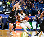 BROOKINGS, SD - NOVEMBER 6: 	Tevin King #2 from South Dakota State University drives against Trey Drechsel #2 from Grand Canyon University during their game Tuesday night at Frost Arena in Brookings, SD. (Photo by Dave Eggen/Inertia)