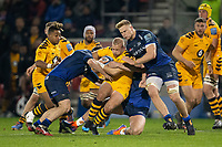 8th November 2019; AJ Bell Stadium, Salford, Lancashire, England; English Premiership Rugby, Sale Sharks versus Coventry Wasps; Dan Robson of Wasps is tackled by Dan du Preez of Sale Sharks - Editorial Use