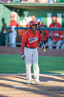 Manuel Guzman (12) of the Orem Owlz bats against the Ogden Raptors in Pioneer League action at Lindquist Field on June 27, 2017 in Ogden, Utah. Ogden defeated Orem 14-5. (Stephen Smith/Four Seam Images)