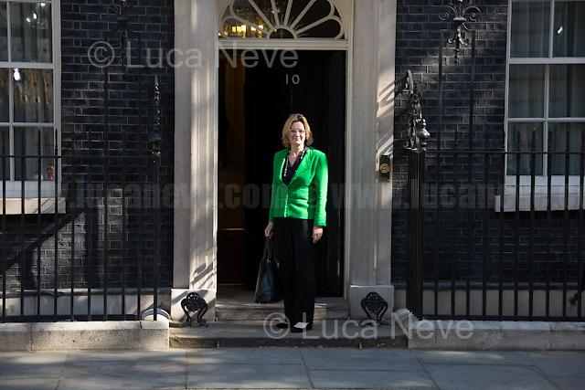 Amber Rudd MP (Secretary of State for the Home Department).<br /> <br /> London, 19/07/2016. First Cabinet meeting at 10 Downing Street (after the EU Referendum and consequent David Cameron's resignation) for the new Prime Minister Theresa May and her newly formed Conservative Government.<br /> <br /> For more information about the Cabinet Ministers: https://www.gov.uk/government/ministers