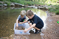 "Isaac Martin, 5, of Bentonville (from left) and brother Asher Martin, 7, look down at a box full of crawdads from a creek, Sunday, July 27, 2020 at Coler Mountain Bike Preserve in Bentonville. Andrew Martin moved his family to Northwest Arkansas from Dallas in January and with the plan of taking advantage of the area's outdoor sights. ""It's way better to be quarantined here where you can get outside and do stuff like this than be in the city,"" he said. Check out nwaonline.com/200728Daily/ for today's photo gallery. <br /> (NWA Democrat-Gazette/Charlie Kaijo)"