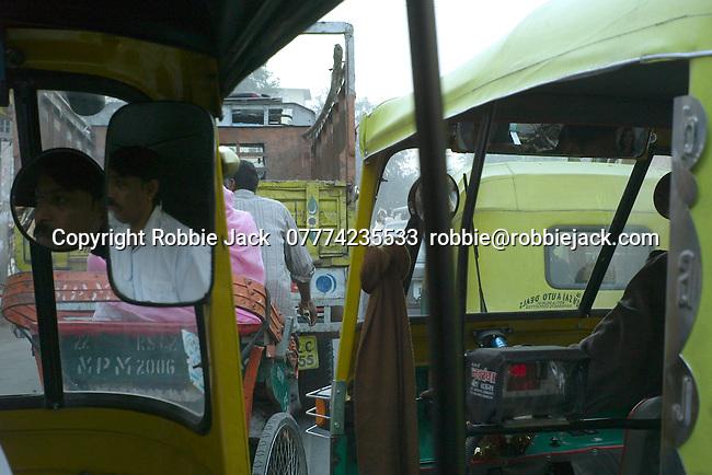 Traffic jam in New Delhi, India.