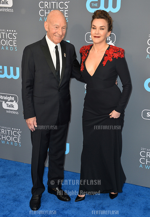Patrick Stewart &amp; Sunny Ozell at the 23rd Annual Critics' Choice Awards at Barker Hangar, Santa Monica, USA 11 Jan. 2018<br /> Picture: Paul Smith/Featureflash/SilverHub 0208 004 5359 sales@silverhubmedia.com