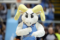 CHAPEL HILL, NC - FEBRUARY 1: The University of North Carolina mascot Rameses entertains the crowd during a timeout during a game between Boston College and North Carolina at Dean E. Smith Center on February 1, 2020 in Chapel Hill, North Carolina.