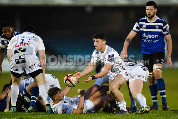 Charlie Chapman of Gloucester United passes the ball. Premiership Rugby Shield match, between Bath United and Gloucester United on April 8, 2019 at the Recreation Ground in Bath, England. Photo by: Patrick Khachfe / Onside Images