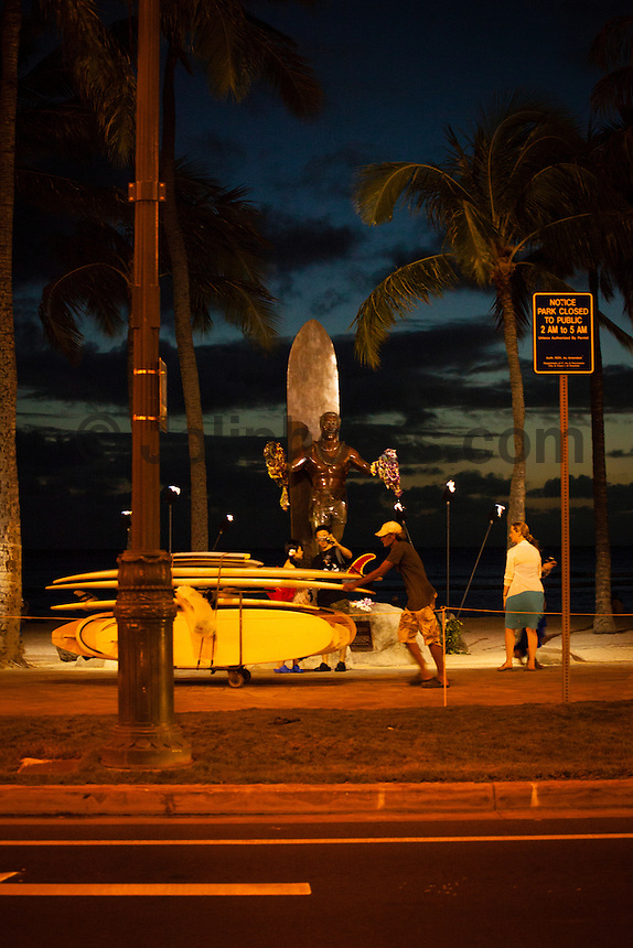 HONOLULU, Waikiki, Oahu. - (Friday, December 21, 2012) --The  surfing legend Duke Kahanamoku's statue  on the foreshore of Waikiki Beach. The tourist spot of Waikiki was busy today with Christmas holiday crowds. Photo: joliphotos.com