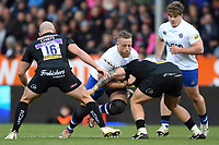 Max Lahiff of Bath Rugby takes on the Exeter Chiefs defence. Aviva Premiership match, between Exeter Chiefs and Bath Rugby on December 2, 2017 at Sandy Park in Exeter, England. Photo by: Patrick Khachfe / Onside Images