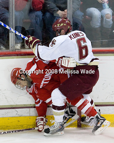 Zach Cohen (Boston University - 11), Tim Kunes (Boston College - 6) - The Boston University Terriers defeated the Boston College Eagles 3-1 at Kelley Rink in Conte Forum in Chestnut Hill, Massachusetts.