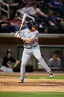 Pensacola Blue Wahoos first baseman Gavin LaValley (25) at bat during a game against the Birmingham Barons on May 8, 2018 at Regions Field in Birmingham, Alabama.  Birmingham defeated Pensacola 5-2.  (Mike Janes/Four Seam Images)