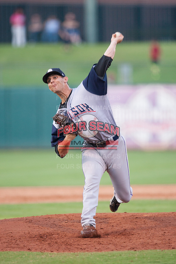 Colorado Springs Sky Sox pitcher Christian Friedrich (33) on the mound during the Pacific League game against the Oklahoma City RedHawks at the Chickasaw Bricktown Ballpark on August 3, 2014 in Oklahoma City, Oklahoma.  The RedHawks defeated the Sky Sox 8-1.  (William Purnell/Four Seam Images)