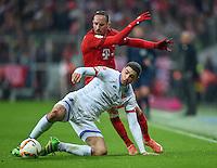 FUSSBALL  1. BUNDESLIGA  SAISON 2015/2016  24. SPIELTAG FC Bayern Muenchen - 1. FSV Mainz 05       02.03.2016 Leon Balogun (vorn, 1. FSV Mainz 05) gegen Franck Ribery (hinten, FC Bayern Muenchen)