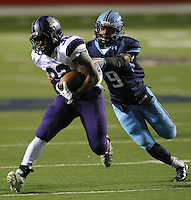 NWA Democrat-Gazette/ANDY SHUPE<br /> Javontae Smith (32) of Fayetteville carries the ball ahead of Bryton Cook of Har-Ber Saturday, Dec. 5, 2015, during the second half of the Class 7A state championship game at War Memorial Stadium in Little Rock. Visit nwadg.com/photos to see more photographs from the game.