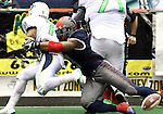 SIOUX FALLS, SD - FEBRUARY 21:  Tyler Knight #3 from the Sioux Falls Storm knocks the ball loose from running back Troy Evans #7 from the Nebraska Danger in the second quarter of their game Friday night at the Sioux Falls Arena. (Photo by Dave Eggen/Inertia)