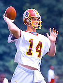 Washington Redskins quarterback Brad Johnson (14) participates in passing drills on the final day of the 2000 Washington Redskins training camp at Redskins Park in Ashburn, Virginia on August 17, 2000.<br /> Credit: Arnie Sachs / CNP