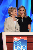 Denver, CO - August 26, 2008 -- United States Senator Hillary Rodham Clinton (Democrat of New York), left, and Chelsea Clinton, right, practice for their address later in day 2 of the 2008 Democratic National Convention at the Pepsi Center in Denver, Colorado on Tuesday, August 26, 2008..Credit: Ron Sachs - CNP.(RESTRICTION: NO New York or New Jersey Newspapers or newspapers within a 75 mile radius of New York City)