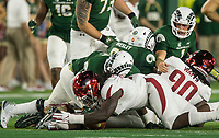 NWA Democrat-Gazette/BEN GOFF @NWABENGOFF<br /> McTelvin Agim, Arkansas defensive lineman, recovers a Colorado State fumble in the 3rd quarter Saturday, Sept. 8, 2018, at Canvas Stadium in Fort Collins, Colo.