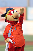 Inland Empire 66ers mascot Bernie waves to the crowd before a game against the San Jose Giants at San Manuel Stadium on August 26, 2015 in San Bernardino, California. San Jose defeated Inland Empire, 8-1. (Larry Goren/Four Seam Images)
