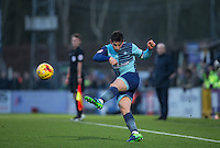 Joe Jacobson of Wycombe Wanderers clears the ball during the Sky Bet League 2 match between Wycombe Wanderers and Yeovil Town at Adams Park, High Wycombe, England on 14 January 2017. Photo by Andy Rowland / PRiME Media Images.
