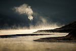 Mist rises from geyser basin, Yellowstone National Park, Wyoming, USA