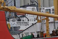 Canadian Coast Guard ship Griffon frames Lower Lakes Towing/Grand River Navigation Great Lakes ships berthed at the Government Docks, Sarnia.