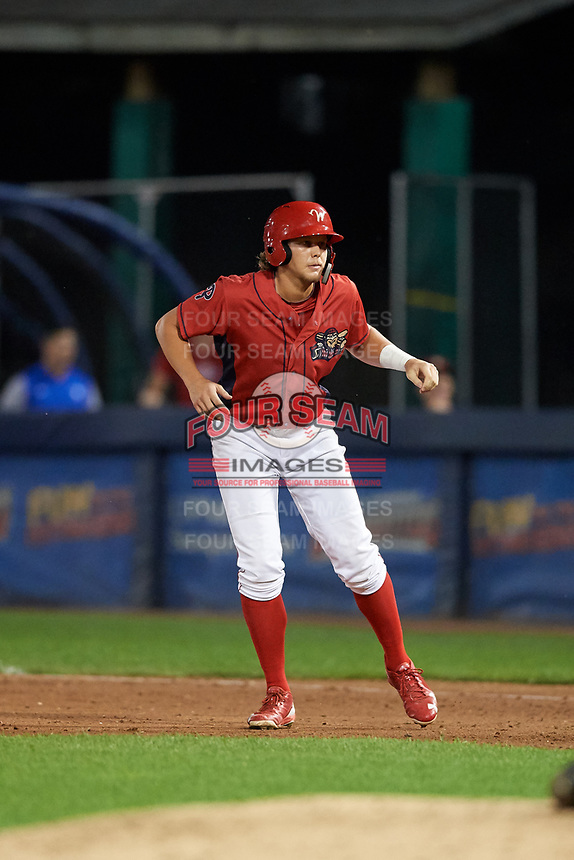 Williamsport Crosscutters designated hitter Alec Bohm (5) leads off first base during a game against the Mahoning Valley Scrappers on August 28, 2018 at BB&T Ballpark in Williamsport, Pennsylvania.  Williamsport defeated Mahoning Valley 8-0.  (Mike Janes/Four Seam Images)