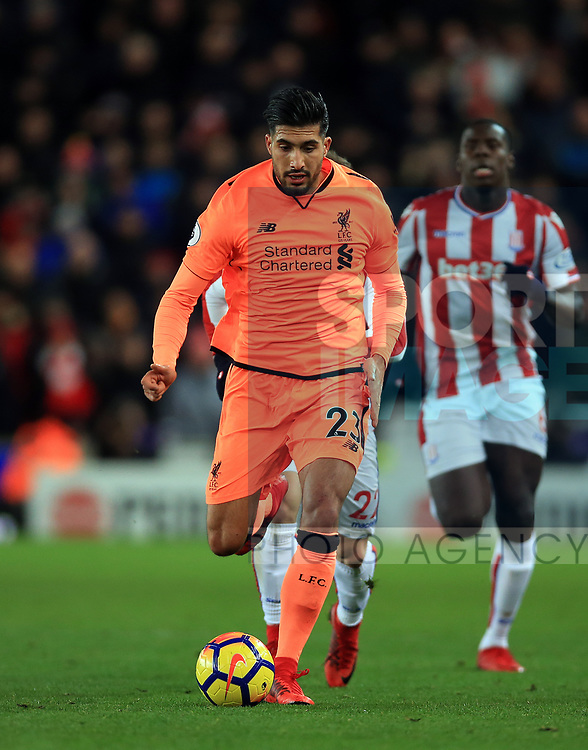 Emre Can of Liverpool during the premier league match at the bet365 Stadium, Stoke on Trent. Picture date 29th November 2017. Picture credit should read: Clint Hughes/Sportimage