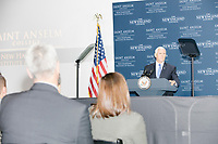 Vice President Mike Pence speaks at a Politics and Eggs event at Saint Anselm College's Institute of Politics in Manchester, New Hampshire, on Thu., November 7, 2019. Pence traveled to New Hampshire as a surrogate for Donald Trump to file required paperwork for the president to get on the New Hampshire presidential primary ballot in 2020.