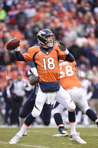 24.01.2016. Denver, Colorado, USA. The NFL AFC Championship American Football match. Broncos quarterback Peyton Manning throws during the fourth quarter of the AFC Championship game on Sunday