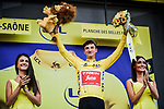 Giulio Ciccone (ITA) Trek-Segafredo is the new race leader Yellow Jersey holder at the end of Stage 6 of the 2019 Tour de France running 160.5km from Mulhouse to La Planche des Belles Filles, France. 11th July 2019.<br /> Picture: ASO/Pauline Ballet   Cyclefile<br /> All photos usage must carry mandatory copyright credit (© Cyclefile   ASO/Pauline Ballet)