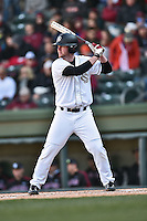 South Carolina designated hitter Alex Destino (24) at bat during a game against the Clemson Tigers at Fluor Field February 28, 2015 in Greenville, South Carolina. The Gamecocks defeated the Tigers 4-1. (Tony Farlow/Four Seam Images)