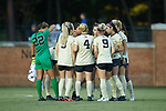 The Wake Forest Demon Deacons huddle up prior to the start of their match against the Tennessee Volunteers at W. Dennie Spry Stadium on the campus of Wake Forest University on August 23, 2018 in Winston-Salem, North Carolina.  The Demon Deacons and the Volunteers played to a 1-1 draw.