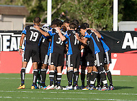 Earthquakes players huddle together before the game against the Crew at Buck Shaw Stadium in Santa Clara, California on June 2nd, 2010.  San Jose Earthquakes tied Columbus Crew, 2-2.