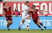 Jacksonville, FL - Thursday April 5, 2018: Stephany Mayor, Alex Morgan, Kenti Robles during an International friendly match versus the women's National teams of the United States (USA) and Mexico (MEX) at EverBank Field.