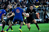 NZ's Anton Lienert-Brown runs at France's Mathieu Babillot during the Steinlager Series international rugby match between the New Zealand All Blacks and France at Westpac Stadium in Wellington, New Zealand on Saturday, 16 June 2018. Photo: Dave Lintott / lintottphoto.co.nz