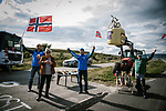 Local fans wait at the roadside for the race during Stage 1 of the 2018 Artic Race of Norway, running 184km from Vadso to Kirkenes, Norway. 16th August 2018. <br /> <br /> Picture: ASO/Pauline Ballet | Cyclefile<br /> All photos usage must carry mandatory copyright credit (&copy; Cyclefile | ASO/Pauline Ballet)