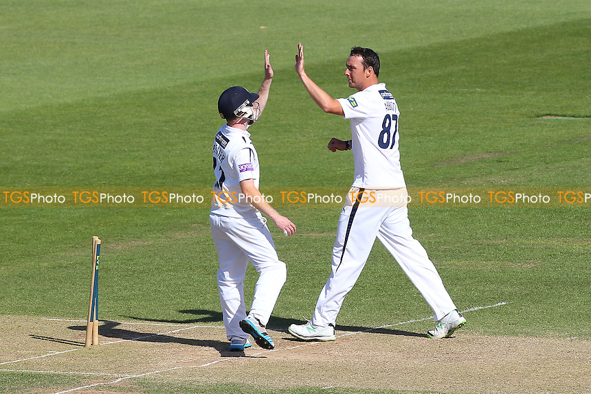 Kyle Abbott of Hampshire (R) celebrates the wicket of Monty Panesar - Hampshire CCC vs Essex CCC - LV County Championship Division Two Cricket at the Ageas Bowl, West End, Southampton - 17/06/14 - MANDATORY CREDIT: Gavin Ellis/TGSPHOTO - Self billing applies where appropriate - 0845 094 6026 - contact@tgsphoto.co.uk - NO UNPAID USE
