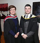 19/1/2015   (with compliments)  Attending the University of limerick conferrings on Monday afternoon was Dermot Moynihan, Oakwood, Kilkenny conferred with a MSc in Risk Management and Insurance and Course Director Dr Orla McCullagh, Dept of Accounting & Finance, KBS, UL..  Picture Liam Burke/Press 22