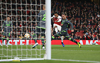 Arsenal's Pierre-Emerick Aubameyang gets in a second half shot<br /> <br /> Photographer Rob Newell/CameraSport<br /> <br /> UEFA Europa League Group E - Arsenal v Sporting CP - Thursday 8th November 2018 - Arsenal Stadium - London<br />  <br /> World Copyright © 2018 CameraSport. All rights reserved. 43 Linden Ave. Countesthorpe. Leicester. England. LE8 5PG - Tel: +44 (0) 116 277 4147 - admin@camerasport.com - www.camerasport.com
