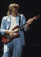 Alex Lifeson of Rush performs at The Rosemot Horizion in Rosemont, Illinois. <br /> March 21,1986<br /> CAP/MPI/GA<br /> ©GA/MPI/Capital Pictures