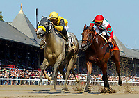 Scenes from around Saratoga Race Course, Sept 4.  Ring Knocker (No. 2) wins the fourth race. Ridden by Angel Arroyo and trained by Gary Gullo.   (Bruce Dudek/Eclipse Sportswire)