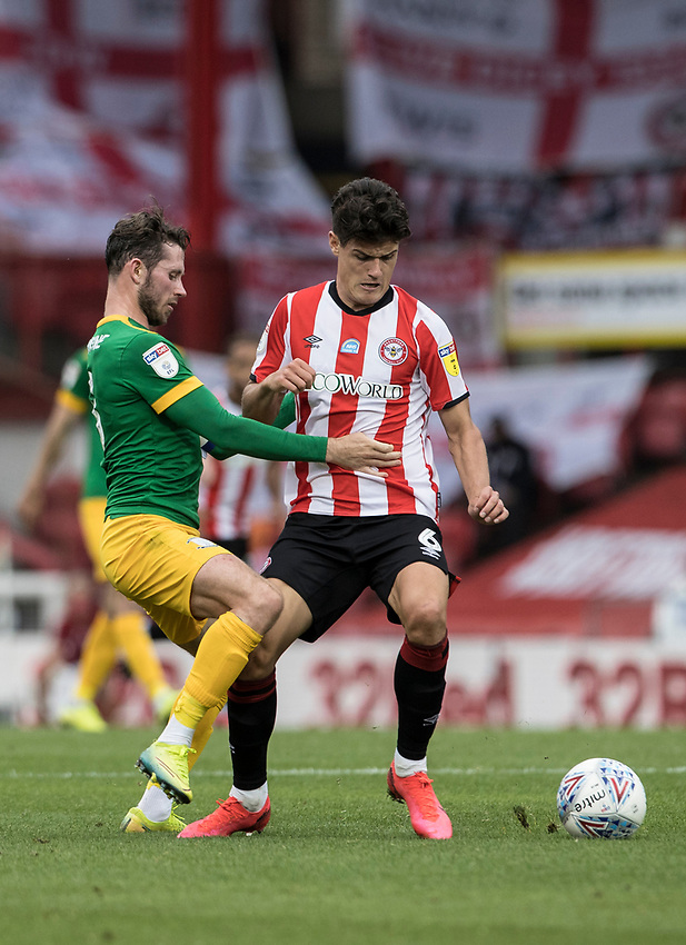 Preston North End's Alan Browne competing with Brentford's Christian Norgaard (right) <br /> <br /> Photographer Andrew Kearns/CameraSport<br /> <br /> The EFL Sky Bet Championship - Brentford v Preston North End - Wednesday 15th July 2020 - Griffin Park - Brentford <br /> <br /> World Copyright © 2020 CameraSport. All rights reserved. 43 Linden Ave. Countesthorpe. Leicester. England. LE8 5PG - Tel: +44 (0) 116 277 4147 - admin@camerasport.com - www.camerasport.com