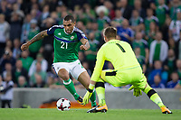 Northern Ireland's Josh Magennis in action   <br /> <br /> <br /> Photographer Craig Mercer/CameraSport<br /> <br /> FIFA World Cup Qualifying - European Region - Group C - Northern Ireland v Czech Republic - Monday 4th September 2017 - Windsor Park - Belfast<br /> <br /> World Copyright &copy; 2017 CameraSport. All rights reserved. 43 Linden Ave. Countesthorpe. Leicester. England. LE8 5PG - Tel: +44 (0) 116 277 4147 - admin@camerasport.com - www.camerasport.com