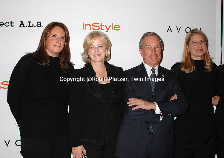 Meredith Estess, Martha Nelson, Mayor Michael Bloomberg and Valerie Estess..posing for photographers at The Project ALS 10th Anniversary  celebration on October 16, 2007 at ..The Waldorf Astoria in New York. ..Robin Platzer, Twin Images....212-935-0770