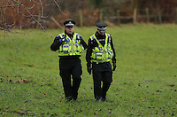 Pictured: Police officers by river Ogmore near Stormy Down, Wales, UK. Tuesday 22 November 2016<br />Re: The search has resumed for Russell Sherwood, 69, who went missing in river Ogmore, Bridgend County on Sunday.<br />Sherwood, of Cilfrew, Neath, was heading for Ewenny in the Vale of Glamorgan during heavy rain in the morning but never arrived.<br />He disappeared at Stormy Down and car parts were found on the river bank.<br />South Wales Police have confirmed registration plates recovered from a bumper match Mr Sherwood's car.