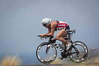 Mary Beth Ellis on the bike at the 2013 Ironman World Championship in Kailua-Kona, Hawaii on October 12, 2013.