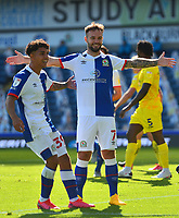 Blackburn Rovers' Adam Armstrong (R) celebrates scoring his side's first goal with team-mate John Buckley<br /> <br /> Photographer Richard Martin-Roberts/CameraSport<br /> <br /> The EFL Sky Bet Championship - Blackburn Rovers v Wycombe Wanderers - Saturday 19 September 2020 - Ewood Park - Blackburn<br /> <br /> World Copyright © 2020 CameraSport. All rights reserved. 43 Linden Ave. Countesthorpe. Leicester. England. LE8 5PG - Tel: +44 (0) 116 277 4147 - admin@camerasport.com - www.camerasport.com