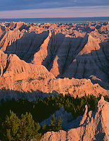 SDBD_023 - USA, South Dakota, Badlands National Park, North Unit, Evening light defines extensive area of eroded, sedimentary formations near Pinnacles Overlook.