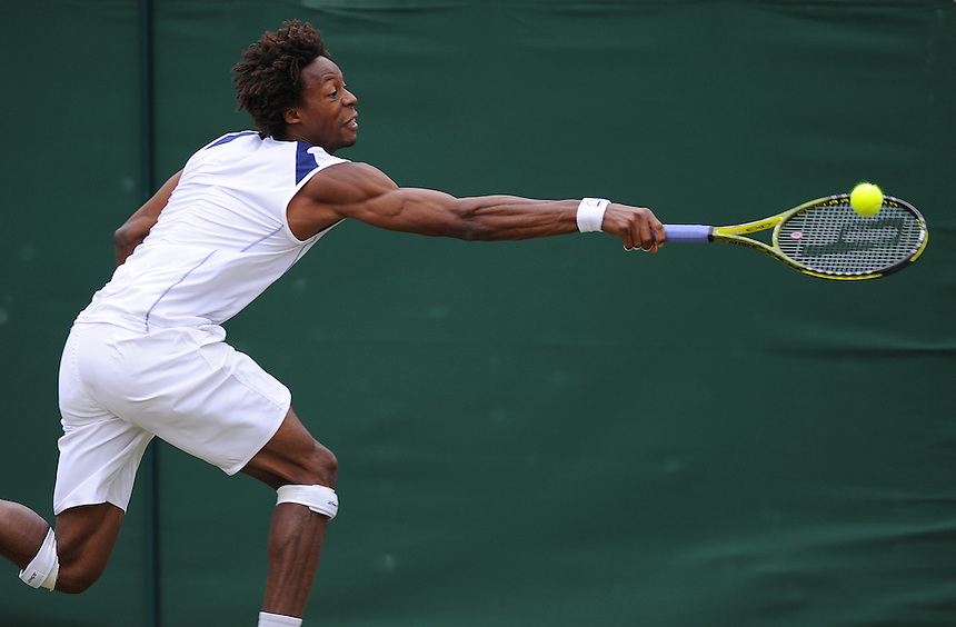 Gael Monfils (FRA)[9] in action today during his Gentlemen's Singles Third Round match against Lukasz Kubot (POL)...